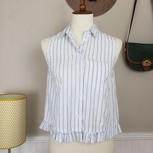 Madewell Pagoda Crop Ruffle Trim Pinstripe Shirt